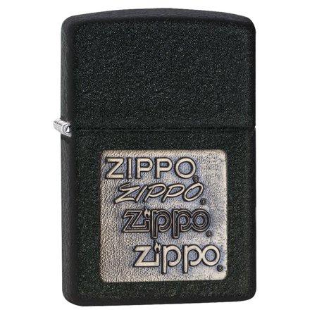 Zippo Pewter Emblem Black Crackle - Zippo Black Crackle 362 Zippo Logo Emblem Lighter