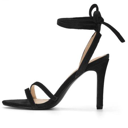 Women's Open Toe High Heel Lace Up Sandals Black US 10 - image 3 de 7