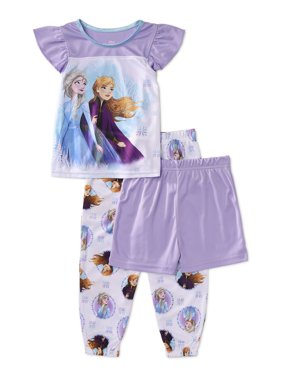 Frozen Toddler Girl Ruffle Short Sleeve Poly Pajamas, 3pc Set