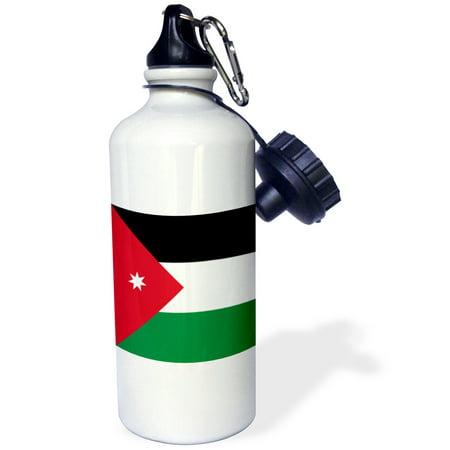 3dRose Flag of Jordan - Jordanian red black white green with white star - Arabic country - Arab world, Sports Water Bottle, (Jordan 5 Low White Fire Red Black)