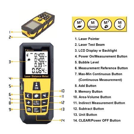 131ft 40M Digital Laser Distance Meter Measure Rangefinder Yellow w Tripod - image 3 of 8