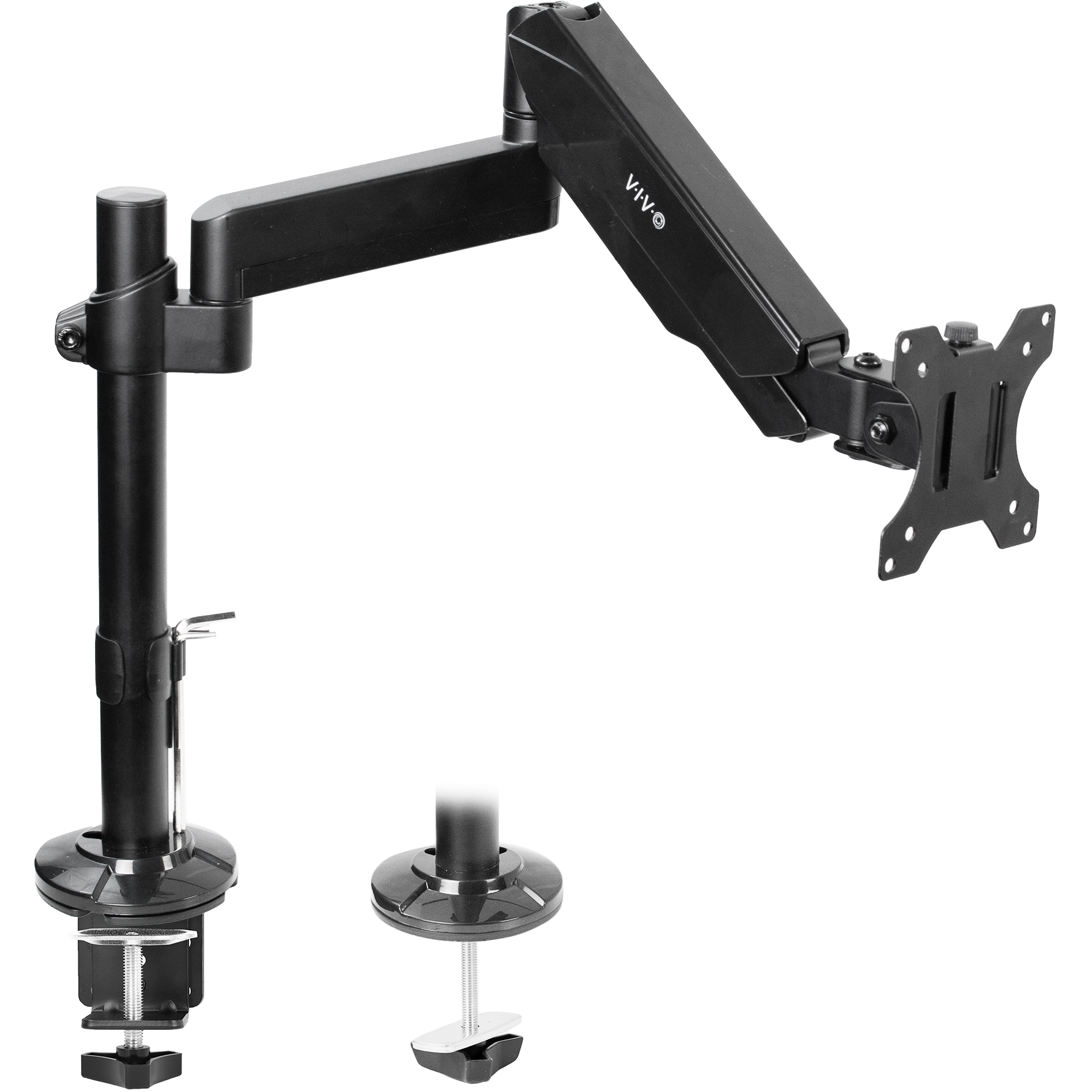 "VIVO Articulating Single Pneumatic Arm Desk Mount Stand | Fits 1 Standard to UltraWide Screen up to 35"" (STAND-V101H)"
