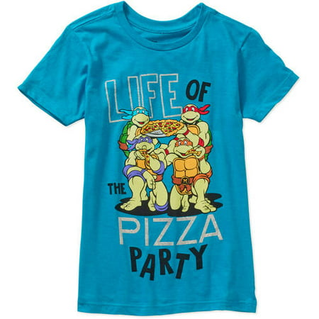 Teenage Mutant Ninja Turtle Girls' My Pizza Party Short Sleeve Crew Neck Graphic Tee