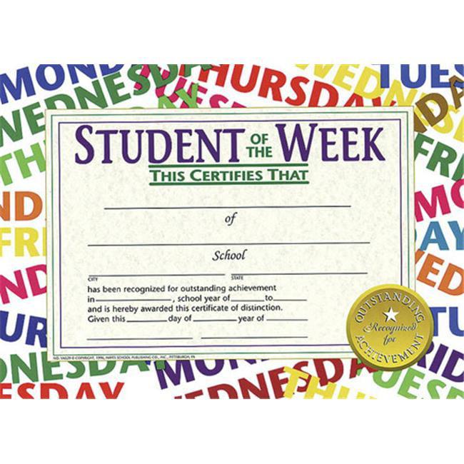 HAYES SCHOOL PUBLISHING H-VA529 CERTIFICATES STUDENT OF THE WEEK-36/PK 8-1/2 X 11