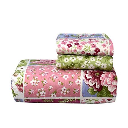 (Couture Home Collection Bright Fun Bohemian Style Patchwork Quilt Set Coverlet Bedspread 3 Piece Set Pink, King)