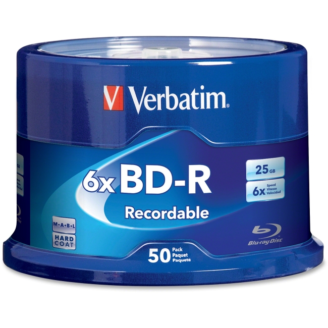 Verbatim BD-R 25GB 6x Branded Spindle, 50pk