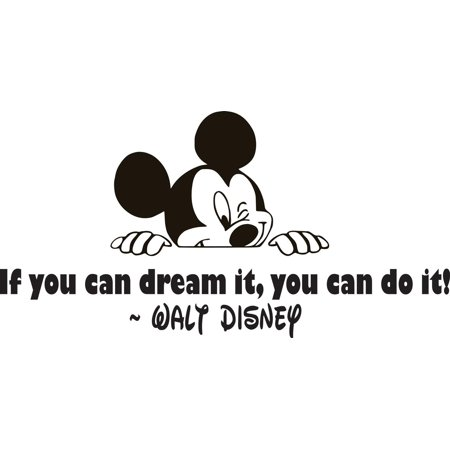 If You Can Dream It You Can Do It Quote Mickey Mouse Silhouette Bedroom Decor Art Custom Wall Decal Vinyl Sticker 8 Inches X 20 Inches