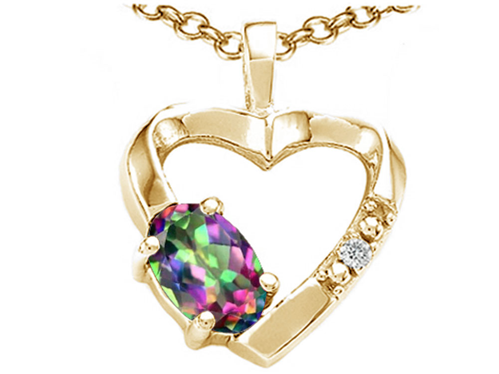Tommaso Design Oval 6x4 mm Mystic Rainbow Topaz Heart Pendant Necklace by