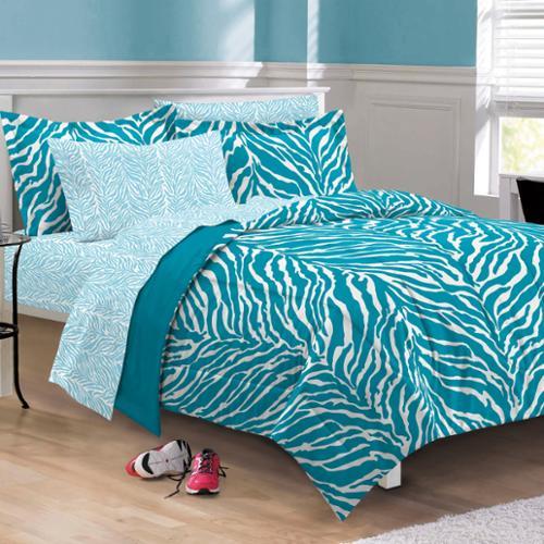 Zebra 6-piece Bed in a Bag with Sheet Set Twin - Aqua