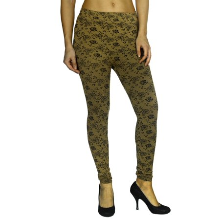 Simplicity Women's Vintage Inspired Floral Print Full Length Tight Leggings, Gold ()
