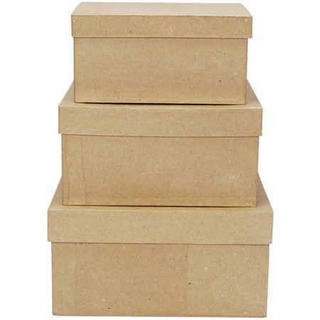 "Darice 2849-06 Paper Mache Boxes for Craftwork, 8"", 9"" and 10"", Set of 3"