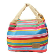 Canvas Multicolor Red Stripe Picnic Lunch Thermal Insulated Cooler Tote Bag