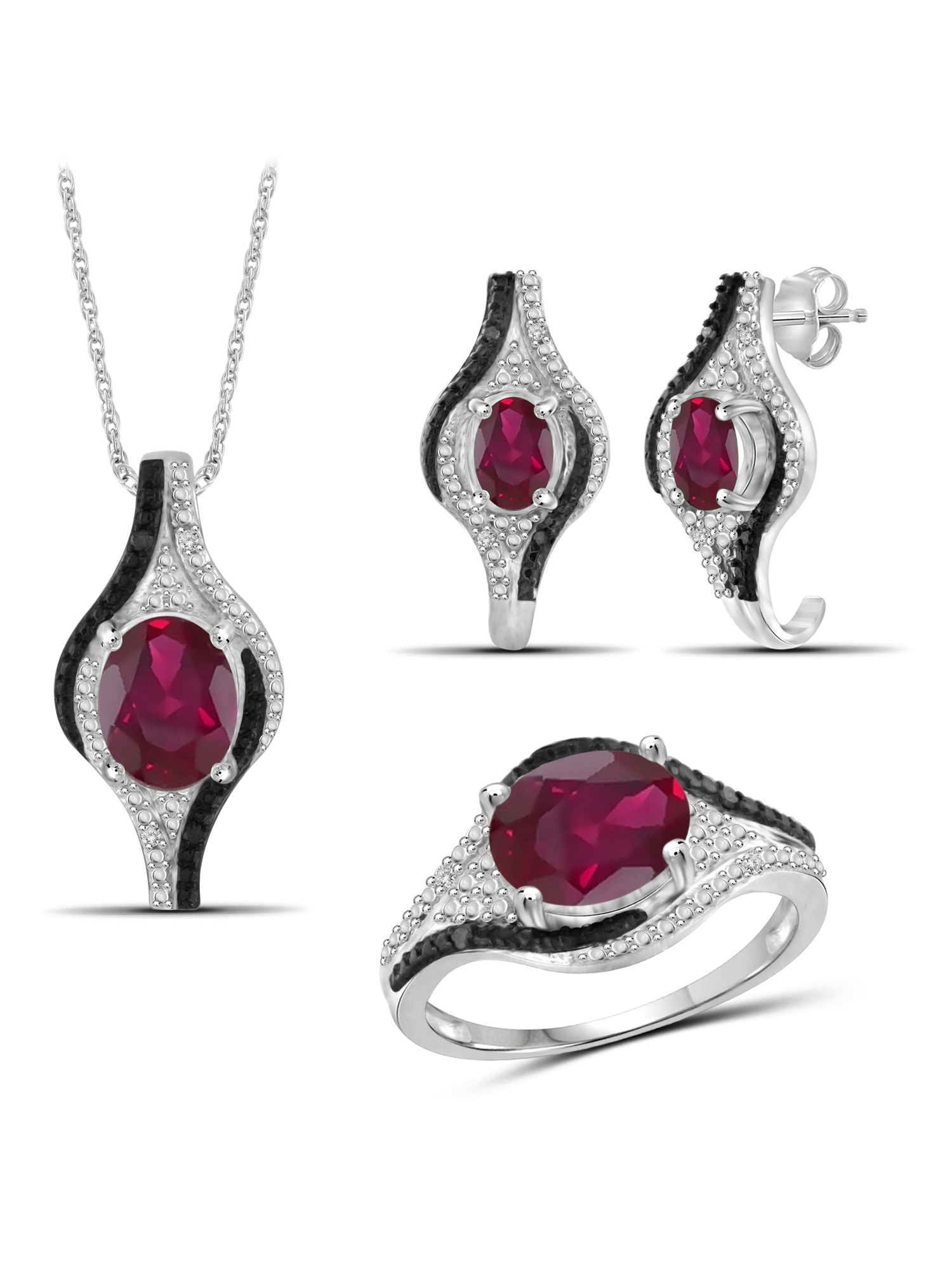 6.00 Carat T.G.W. Ruby And Black & White Diamond Accent Sterling Silver 3-Piece Jewelry set