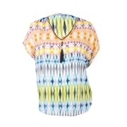 NY Collection Women's Printed Crepe Chain-Link Neck Top (1X, Sunny Melody)