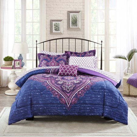 Mainstays Grace Medallion Purple Bed In A Bag Complete