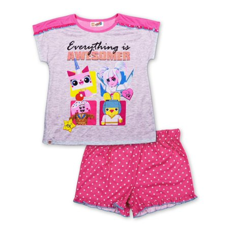 Uni-kitty Pajama Top and Short, 2-Piece Set (Little Girl & Big Girl)