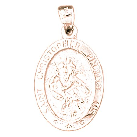 Rose Gold Plated 925 Sterling Silver 27Mm Saint Christopher Coin Charm Pendant  Approx  2 465 Grams