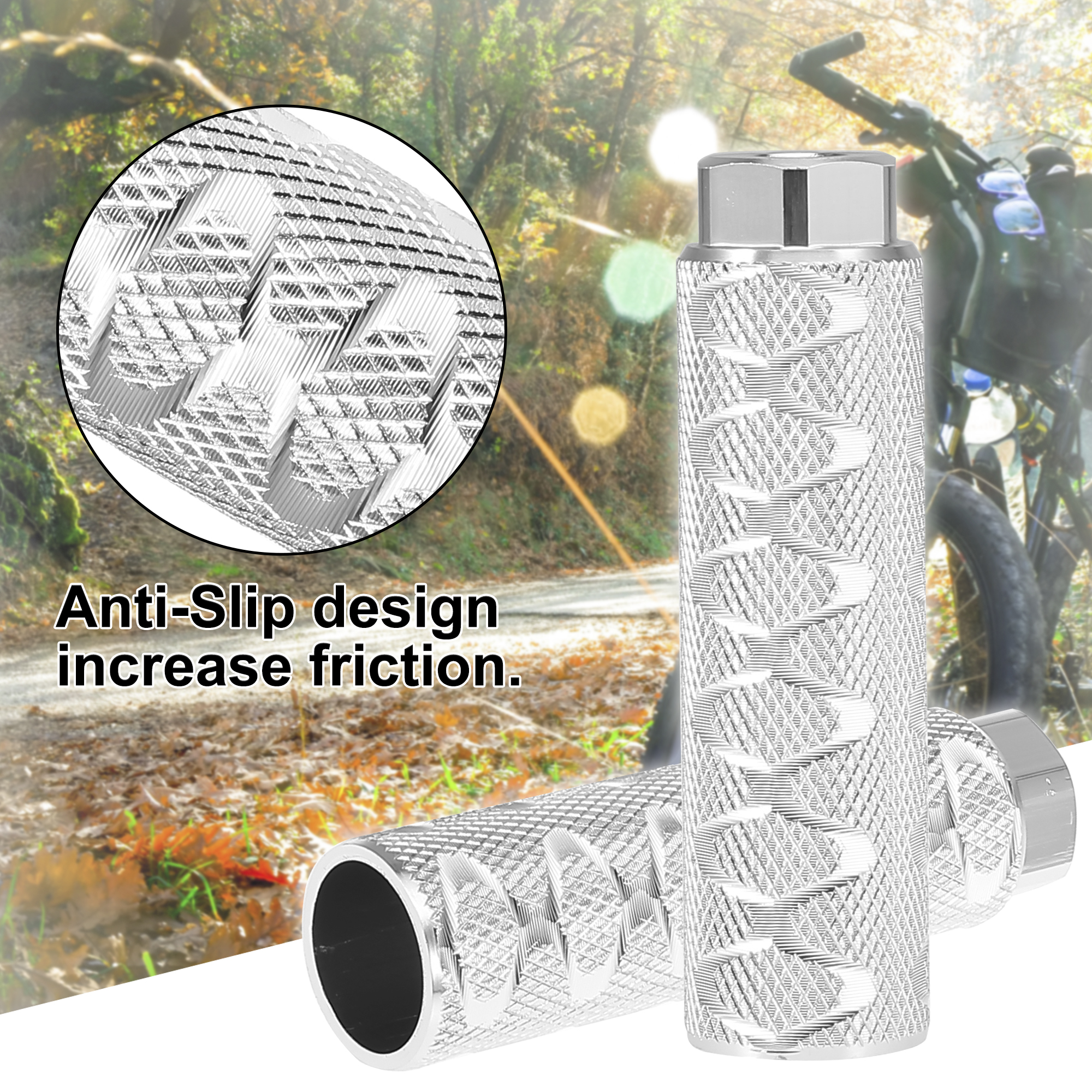 Details about  /Pair 100x28mm Axle Foot Pegs for BMX MTB Bike Fit 3//8 Inch Axles Silver Tone