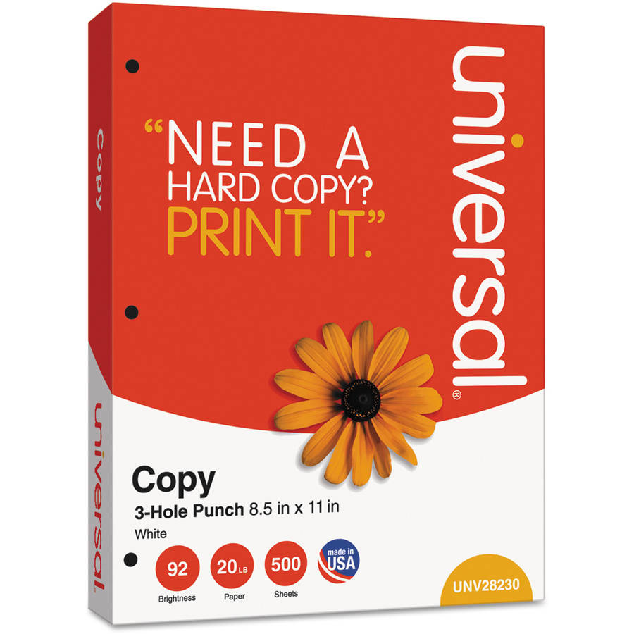 "Universal Copy Paper, 92 Brightness, 20 lb, 8-1/2"" x 11"", 3-Hole Punch, White, 5000 Sheets (10 Reams)"
