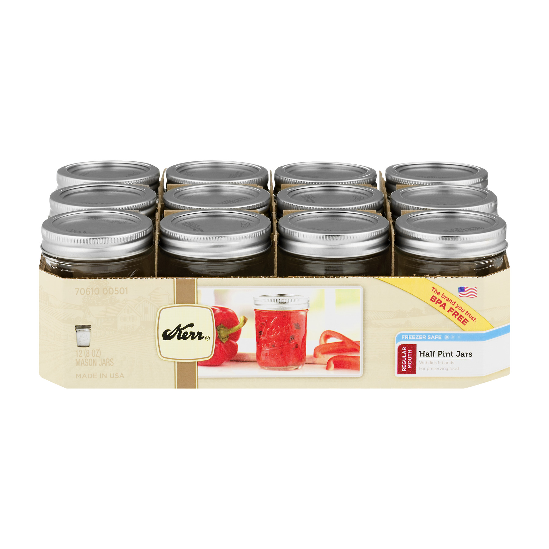 Kerr Regular Mouth Half-Pint 8 Oz. Glass Mason Jars with Lids and Bands, 12 Count