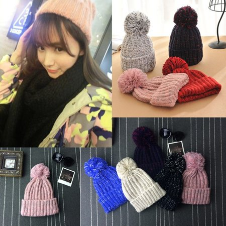 - Women Crochet Beret Beanie Ball Hat Knitted Wool Warm Winter Ski Crochet Cap