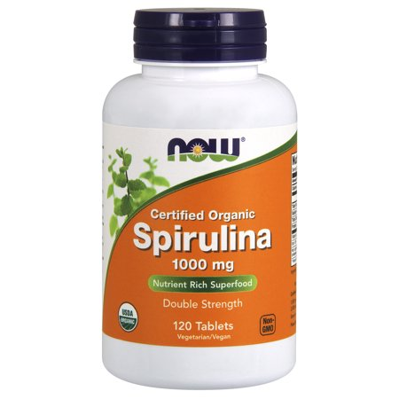 NOW Supplements, Certified Organic, Spirulina 1000 mg (Double Strength), Rich in Beta-Carotene (Vitamin A) and B-12 with naturally occurring GLA , 120 (Spirulina Sticks)
