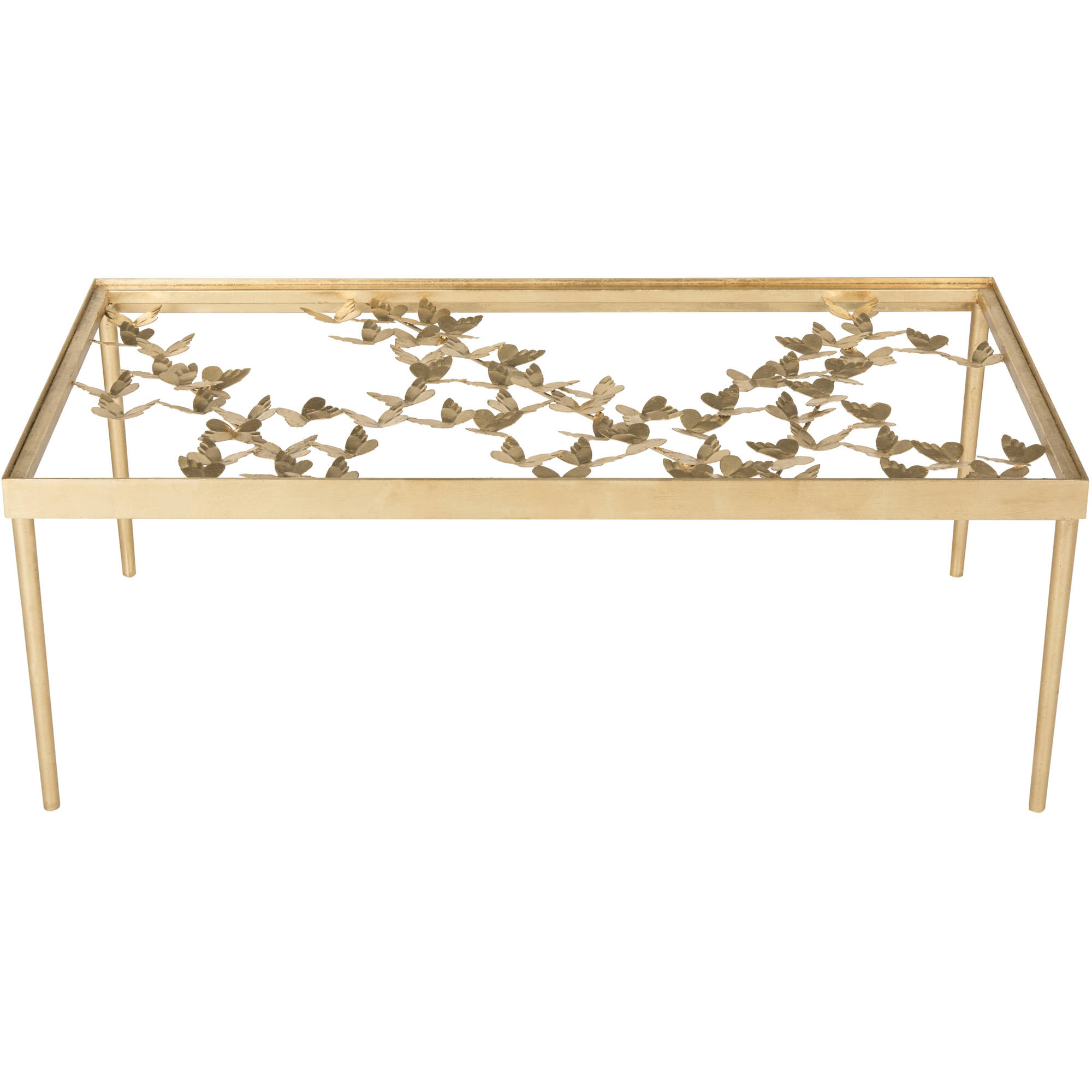 "Safavieh Rosalia 48"" Width Butterfly Coffee Table, Antique Gold Leaf w/ Glass Top"