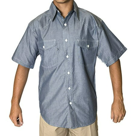 BCO Mens Blue Chambray Short Sleeve Shirt, Western Style Button Front (No Snaps) 60% Cotton 40% Polyester Mens Western Snap