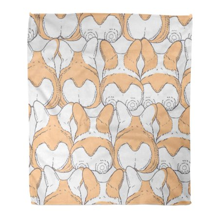 KDAGR Flannel Throw Blanket Abstract Dogs Breed Welsh Corgi Pembroke Cartoon Character Soft for Bed Sofa and Couch 58x80 Inches