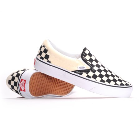 Vans Classic Slip-On (Black & White Checkerboard/White) Men's Skate Shoes-4 - Unusual Vans Shoes