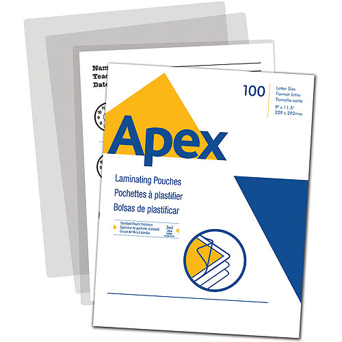 Apex Standard Laminating Pouches, Letter Size for 3mm Setting, 100 Per Pack