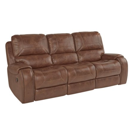 Roundhill Furniture Achern Brown Leather Nailhead Manual Reclining Sofa  with Storage Console and USB Port
