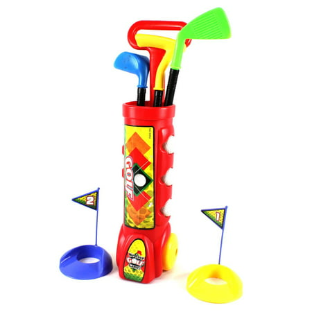 - Bisontec Deluxe Kid's Happy Golfer Toy Golf Set With 3 Golf Balls, 3 Types of Clubs, & 2 Practice Holes