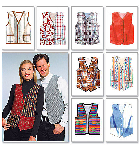 McCall's Pattern Misses' and Men's Lined Vests, (XXL)