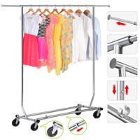 Clothing Garment Rack Commercial Premium Stainless Steel Heavy Duty Adjustable Collapsible Chrome