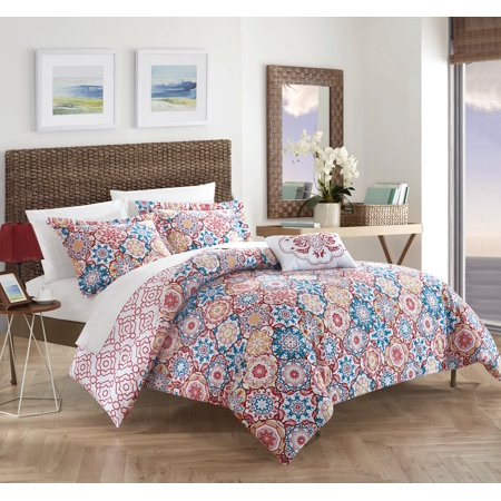 Chic Home 4-Piece Norwell 100% Cotton 200 Thread Count Bohemian Inspired Printed REVERSIBLE King Quilt Set Pink