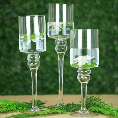 Efavormart Set of 3 Clear Long Stem Glass Cylinder Flower Vase Tabletop Candle - Long Stem Candle Holders