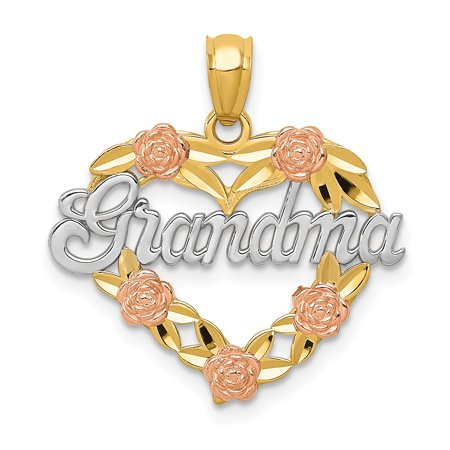 14kt Two Tone Yellow Gold Grandma Heart Pendant Charm Necklace Love Grma Fine Jewelry Ideal Gifts For Women Gift Set From Heart