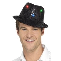 """33"""" Black Sequin Trilby Unisex Adult Halloween Hat Costume Accessory - One Size"""
