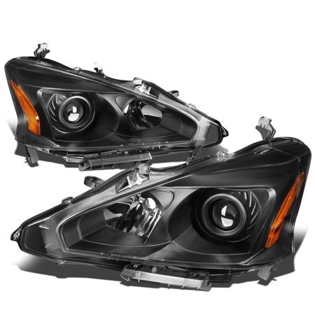 For 2013 to 2015 Nissan Altima Pair Black Housing Amber Side Projector Headlight Headlamps 14 Left+Right