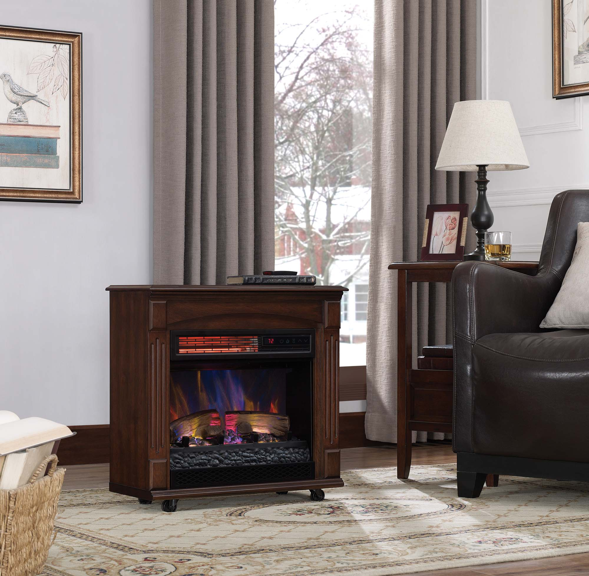 Fantastic Chimneyfree Rolling Mantel Infrared Quartz Electric Fireplace Space Heater Download Free Architecture Designs Photstoregrimeyleaguecom
