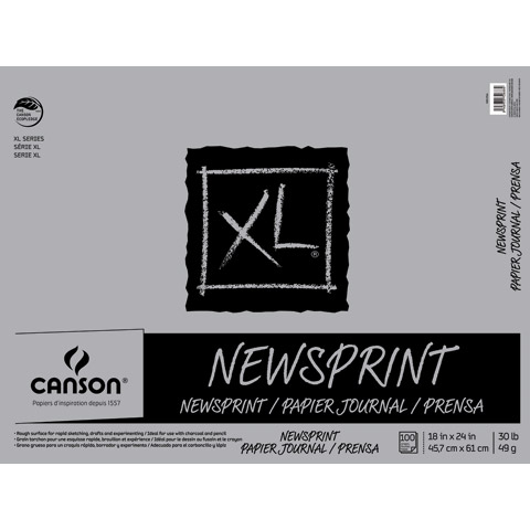 "Canson - XL Newsprint Paper Pad - Biggie - 100/125 Sheet Pad - 9"" x 12"""