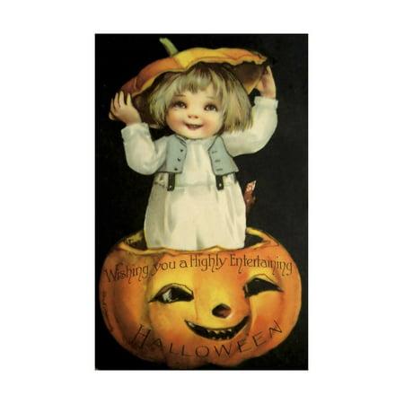 Halloween Pumpkin Head Child Print Wall Art By Vintage Apple - Art Kids Hub Halloween