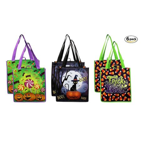 Earthwise Halloween Trick or Treat Bags - Reusable Candy Goodie Totes Baggies Party Favor Bags (6 Pack) 3 Cute Prints - Jackolanterns, Ghosts and Candy Corn](Cute Halloween Treats Classroom)