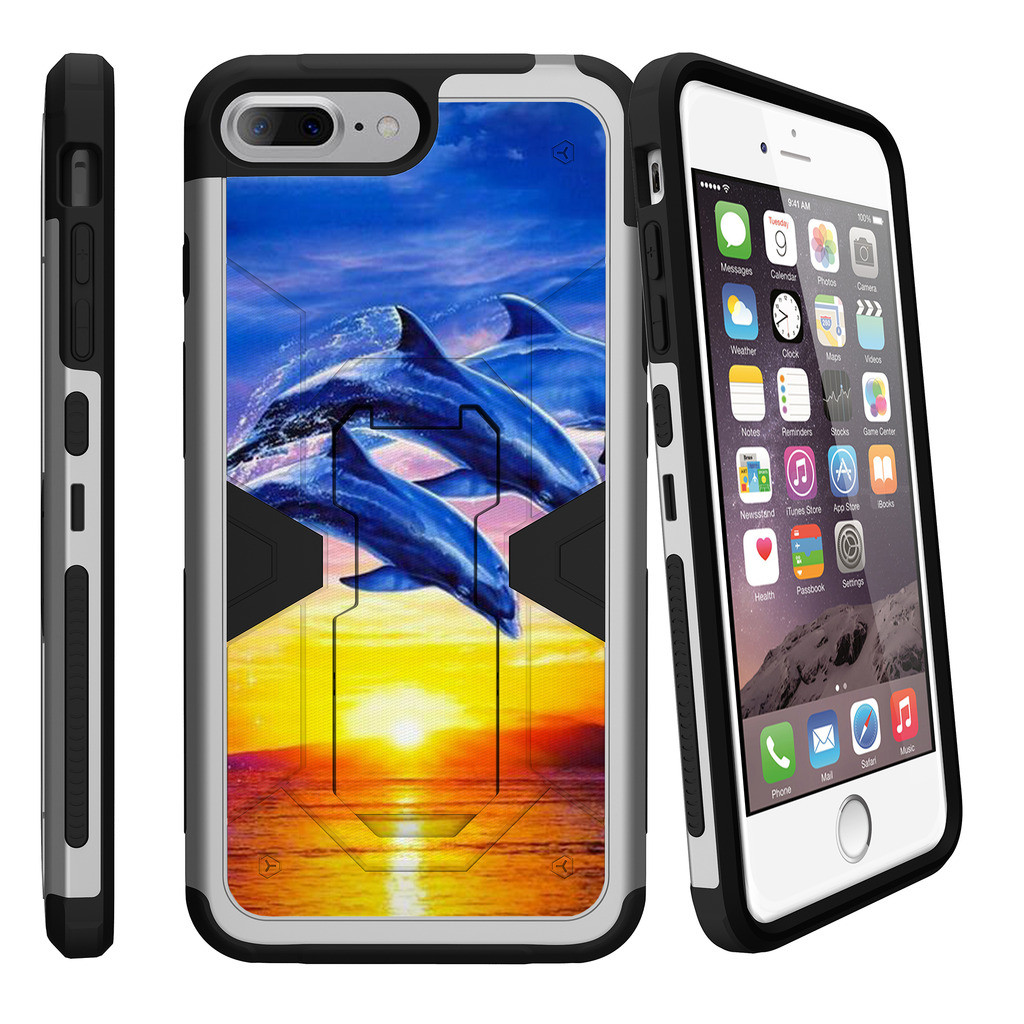 "Apple iPhone 7 Plus 5.5"", MAX DEFENSE[SILVER CASE] Heavy Duty Clip Case with Kickstand - Sunset Dolphins"