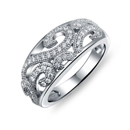 Scrolled Dome (925 Sterling Silver Vintage Style Dome Filigree CZ Pave Cubic Zirconia Scroll Swirl Band Ring  For Women)