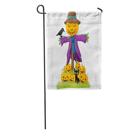 SIDONKU Orange Halloween Cartoon Scarecrow Character Bird Funny Autumn Cheerful Cheery Garden Flag Decorative Flag House Banner 12x18 inch](Halloween Characters Cartoon)