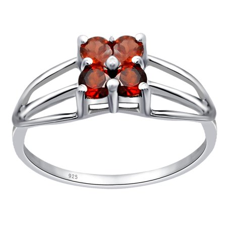 Beautiful 0.6 Ctw Red Garnet 925 Sterling Silver 4-stone Ring for the One by Orhid Jewelry
