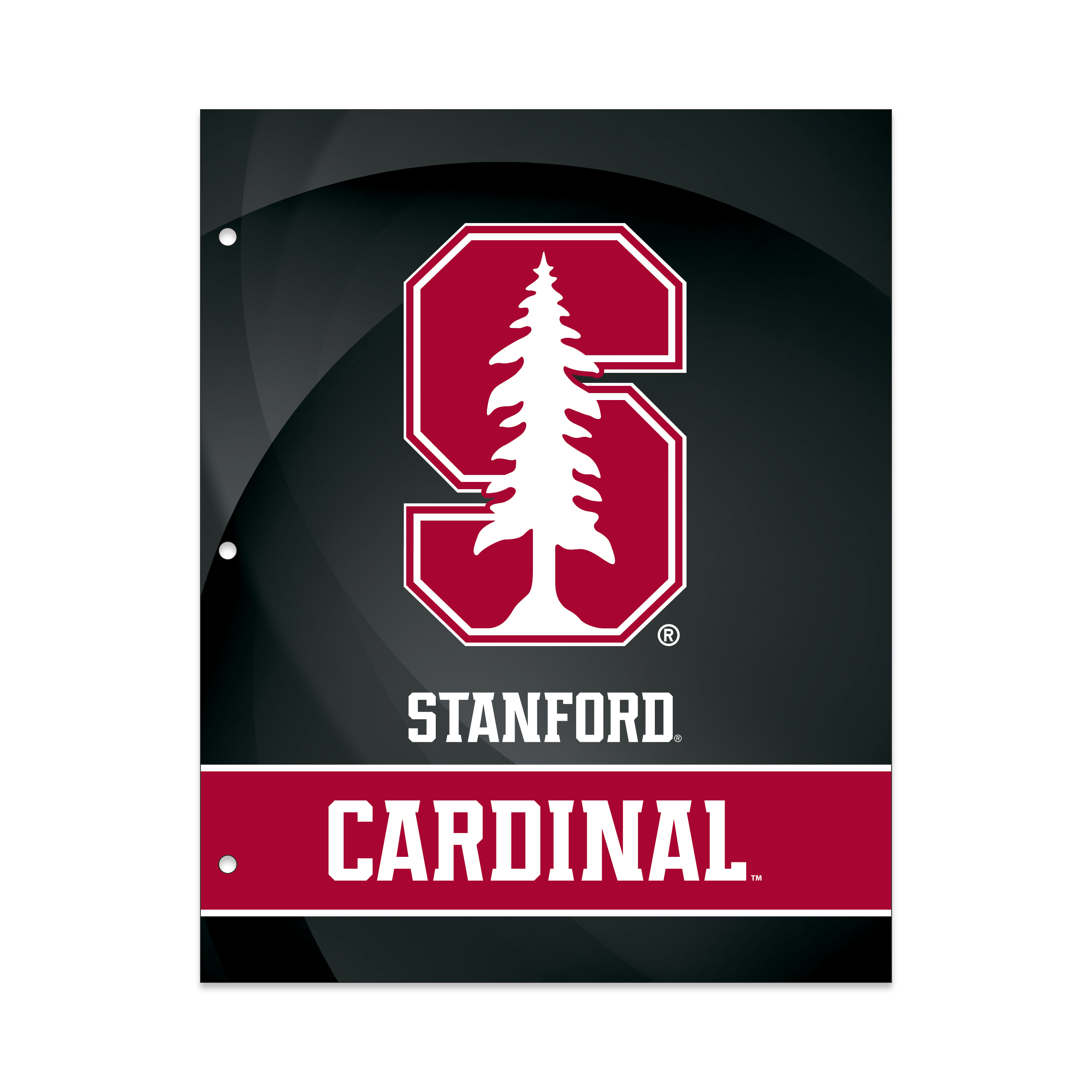 NCAA Stanford Cardinals 2 Pocket Portfolio, Three Hole Punched, Fits Letter Size