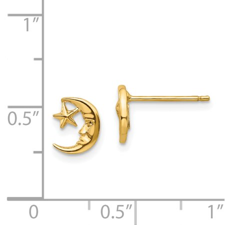 14K Yellow Gold Moon and Star Post Earrings - image 1 de 2